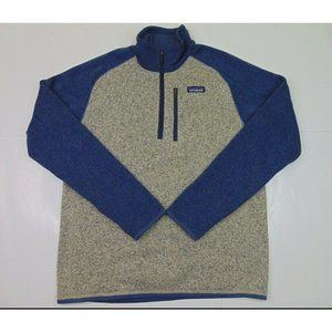 Patagonia Men M 1/4 Zip Better Sweater Fleece Jacket Outdoor Hiking Blue Gray